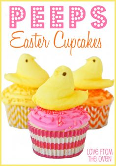 Check out these Adorable Easter Cupcake Recipes that will impress your guests and make your Easter Dessert Table look amazing! Holiday Cupcakes, Easter Cupcakes, Holiday Treats, Easter Cake, Easter Party, Holiday Recipes, Easter Peeps, Easter Treats, Easter Food
