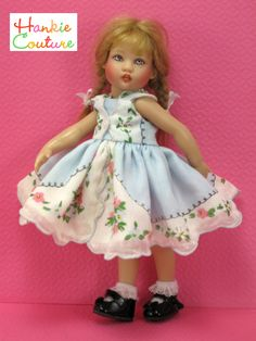 Cute Li'l Me ♡ Baby blue with pinks, hankie-dress for Riley Kish  by Hankie Couture ♡ http://hankiecouture.com ♡ #hankiecouture