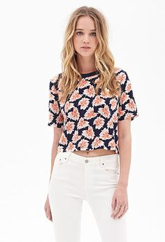 Abstract Floral Crop Top | FOREVER21 - on my to buy list definitely