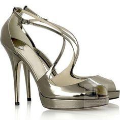 copper patent leather open toe cross strap stiletto Sandal