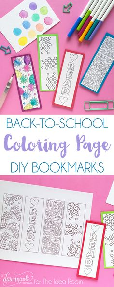 DIY Back to School Coloring Page Bookmarks. Make them for yourself or gift a set for someone to color! Dawn Nicole Designs for MichaelsMakersThe Idea Room