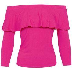 Sans Souci Fushia ruffled off the shoulder top ($18) ❤ liked on Polyvore featuring tops, blouses, fushia, off-the-shoulder ruffle tops, pink ruffle blouse, pink pullover, off shoulder tops and off shoulder blouse