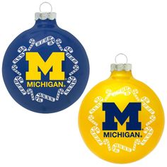 Classic Ncaa Michigan Wolverines Home and Away Glass Ornaments