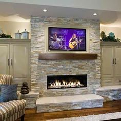Stone Fireplace Ideas with Television Above 20 Amazing TV Above Fireplace Design Ideas - Decoholic House Design, Traditional Family Rooms, Remodel, Home, House, Linear Fireplace, Stone Fireplace Designs, New Homes, Home Fireplace