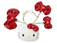 Hello Kitty Face Plush Bag Charm Ribbon SANRIO JAPAN