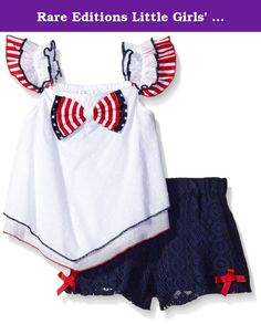 Rare Editions Little Girls' Holiday Stars and Stripes Short Set, White/Navy, 4T. White clip dot top with Americana bow to navy lace short set.