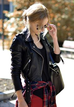 black and red, leather and squared shirt - have to try that