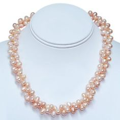 #8: Amazing Pink Double Twist Freshwater Pearl Necklace 18 Pearls:8mm