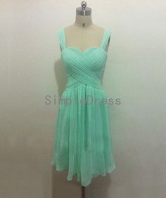 New Arrival A-line Straps Sleeveless Knee-length Chiffon Mint Fashion Cheap Prom Dress / Evening Dress 2014  With Pleat