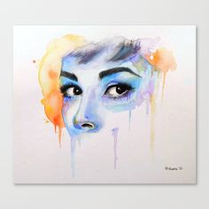 Audrey Drip Stretched Canvas by Robin Ewers