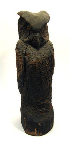 Great Horned Owl Decoy Sculpture