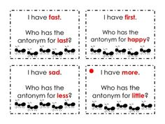 """"""" Antonyms- great game for teaching antonyms or any other literacy definitions ((free)) Teaching Language Arts, Classroom Language, Classroom Fun, Language Activities, Speech And Language, Literacy Activities, 2nd Grade Ela, 2nd Grade Writing, First Grade Reading"""