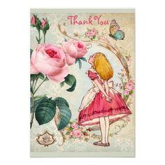 Alice in Wonderland Thank You Bridal Shower Custom Announcement