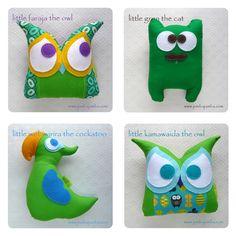 Green Animal Pillows: owl, cat, cockatoo available at www.jumbajamba.com