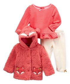 Nannette Kids | Coral Fox Button-Up Jacket Set - Infant & Toddler by Nannette Kids #zulily #zulilyfinds