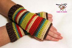 Ravelry: Inside-Out Fingerless Gloves Crochet Pattern pattern by April Bennett with Cuddle Me Beanies Fingerless Gloves Crochet Pattern, Crochet Mittens, Diy Crochet, Crochet Crafts, Yarn Crafts, Crochet Ideas, Wrist Warmers, Yarn Projects, Cute Pattern
