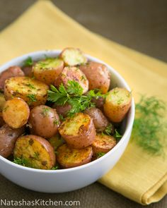 Oven Roasted Baby Red Potatoes. - These are boiled first so they're already mostly done when you stick them in the oven.