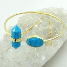 Turquoise Gemstone Gold plated jewelry, Designer gold filled bracelet