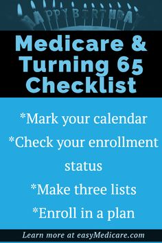 Medicare and Turning 65 - A Checklist Retirement Strategies, Retirement Advice, Retirement Benefits, Retirement Planning, Social Security Office, Preparing For Retirement, Emergency Binder, Elderly Activities, Dementia Activities