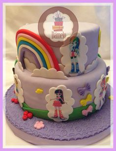 Equestria Girls!! Torta de chocolate de 2 pisos.