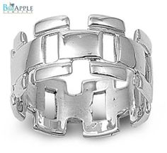 Open Cut Comfort Fit Abstract 11 mm Band Ring Solid 925 Sterling Silver Plain Simple Comfort Fit Ring Size 4-16
