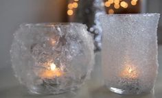 Make these adorable frosty votive candle holders with cheap glass containers and Epsom salts. They're perfect for adding sparkle to your holiday decorations!