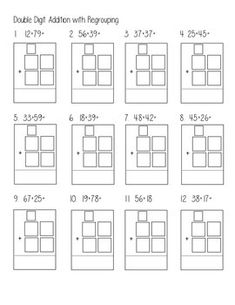 DOUBLE DIGIT ADDITION WITH REGROUPING - Leveled practice worksheet