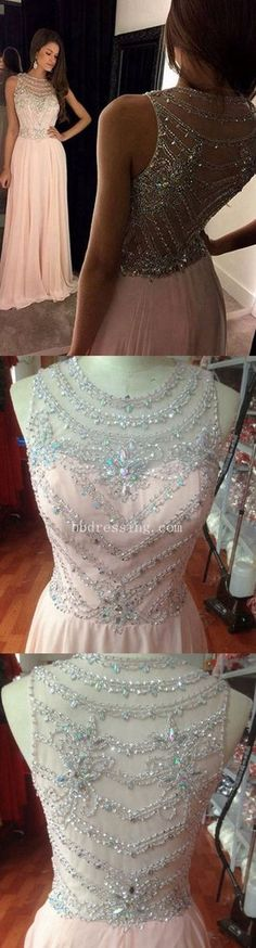 Nice Beading Work. 2018 Dusty Pink Long Prom Dress with Beads Stones and Crystals pst0587