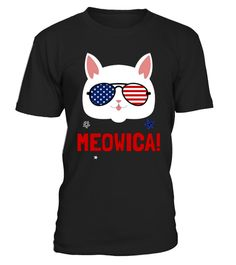 # MEOWICA Cat Glasses Tshirt 4TH Of July .   Celebrate Independence Day with this perfect patriotic funny cat lover t-shirt. Show your patriotic pride this Fourth of July with Meowica Freedom T-Shirt. Enjoy your barbecue, sparklers, fireworks, block parties, parades, and social gatherings in style. Hilarious graphic of a cat waving stars and stripes of the American flag on a bald eagle will get laughs. Knock back your hotdogs in American pride. Makes the perfect gift for husbands, wives and…