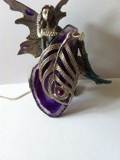 Purple agate slice necklace. Handmade. on Etsy, £19.50