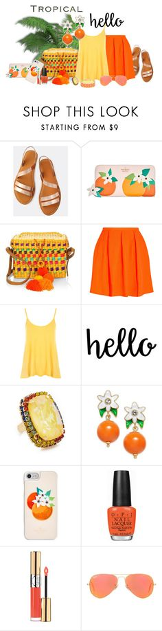 """""""FUN ... Bright Tropical Colors !!"""" by fashiongirl-26 ❤ liked on Polyvore featuring Kate Spade, Nannacay, Opening Ceremony, WearAll, Elizabeth Cole, OPI, Yves Saint Laurent and Ray-Ban"""