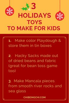 Minimalist Parents Tips for the holidays. Make these gifts for the kids or have them help you with these fun activities. For more tips, join us at http://eepurl.com/clK9nj https://facebook.com/beingchi
