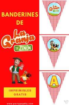 Banderines la granja de Zenón | Party Pop 1st Birthday Parties, Ideas Para, Diy Gifts, Party Themes, Playing Cards, Banner, Baby Shower, Kids, Salvador