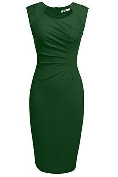 ANGVNS Womens Classy Neck Detail Sleeveless Zip-up Midi Dress(M,Dark Green)