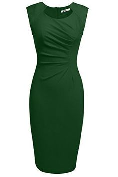 []  ANGVNS Womens Classy Neck Detail Sleeveless Zip-up Midi Dress(M,Dark Green) []---