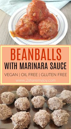 VEGAN meatballs with marinara sauce. Frugal vegan recipe on a budget, done in under 30 minutes for a meatball sub or meatball marinara over spaghetti. Beanball recipe is high in protein and great for a whole food plant based diet (oil free, gluten free) #glutenfree #veganmeatballs #beanballs