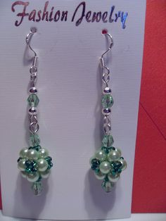 Green Beaded Earrings by SparklingJewelryShop on Etsy, $10.00