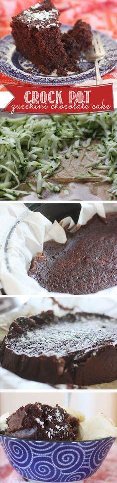 Crock Pot Zucchini Chocolate Cake - an easy, healthy dessert! | crock pot dessert