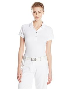 adidas Golf Womens Essential Pique Polo Shirt White Medium ** Want to know more, click on the image.