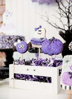 Loving the adorable cookies at this Halloween Party!! See more party ideas and share yours at CatchMyParty.com