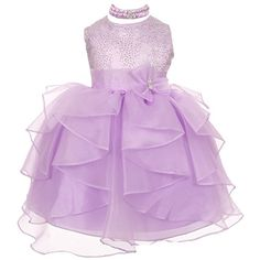 Baby Girls Lilac Organza Rhinestuds Bow Sash Flower Girl Dress 18M -- You can get more details by clicking on the image. (This is an affiliate link) #BabyGirlDresses