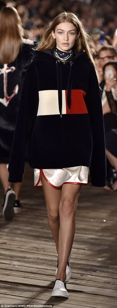 Anchors aweigh! Gigi Hadid turned every head in the audience as she hit the catwalk in an outfit straight from her brand new collaboration, Tommy X Gigi, as she walked the Tommy Hilfiger Spring/Summer 2017 presentation for New York Fashion Week on Friday