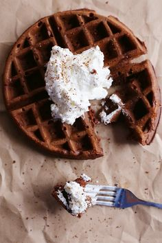 An easy and delicious brunch recipe for chocolate cake waffles from The Sweetest Occasion