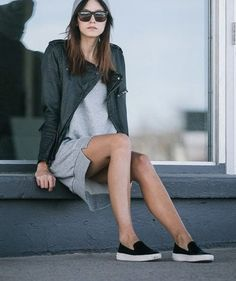 grey t-shirt dress / black leather jacket / sneaks - love it all