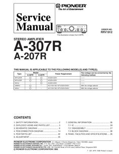 Service Manual - Pioneer A-307R STEREO AMPLIFIER - Amplifier Technical Documentation, Short Messages, Stereo Amplifier, First Page, Manual, Free, Textbook