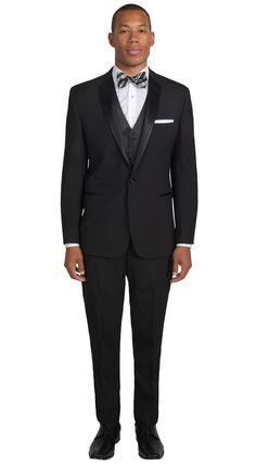 Black Notch Lapel Tuxedo by Savvi, Fit: Slim, Fabric: Super 100s Wool, Lapel: Notch, Buttons: 1, Sizes available: Boys' 3 - Men's 60L