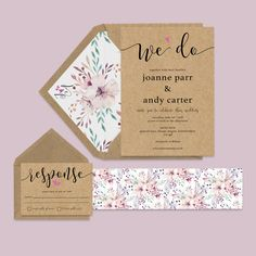 Rustic floral wedding invitation set. A simple, no fuss design shown with belly band and envelope liner (optional extras). Printed onto high quality kraft brown card 300gsm, this design is fully customisable to include your own names, choice of words and dates etc. Belly Bands, Floral Wedding Invitations, Design Show, Envelope Liners, Rustic Wedding, Dates, Reception, Printed, Brown