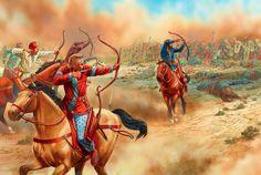 Arqueros partos a caballo haciéndoselas pasar canutas a los romanos en Carrhae, cortesía de Peter Dennis. La mejor colección de láminas en http://www.elgrancapitan.org/foro/
