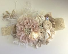Tope and ivory tan flowers headband with lots of by Cutiesdressup