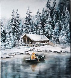 Painting Snow, Winter Painting, Winter Pictures, Art Pictures, Watercolor Landscape, Landscape Paintings, Bob Ross Paintings, Art Carte, Outdoor Paint